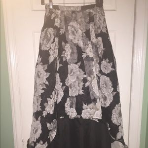 High Low Black and White Flower/Floral Prom Skirt